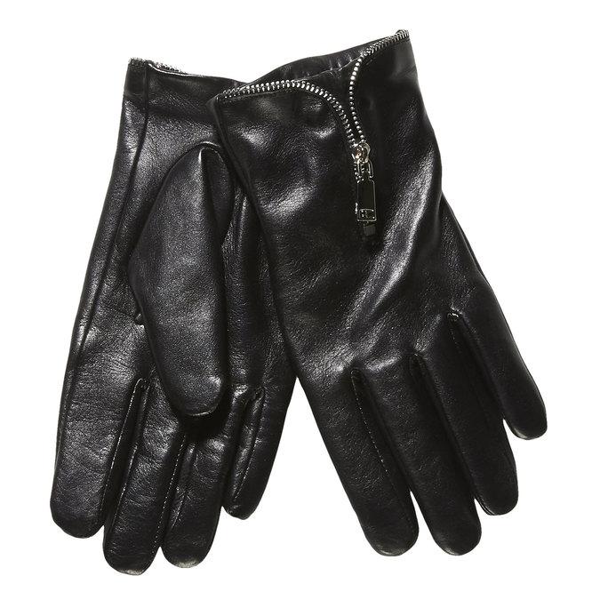 Damen-Lederhandschuhe mit Reißverschluss, Schwarz, 904-6111 - 13