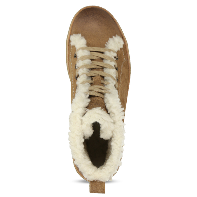 Knöchelhohe Leder-Sneakers mit Kunstpelz, Braun, 596-8627 - 17