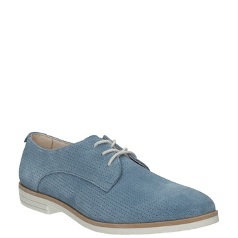 Blaue Leder-Halbschuhe bata, Blau, 523-9600 - 13