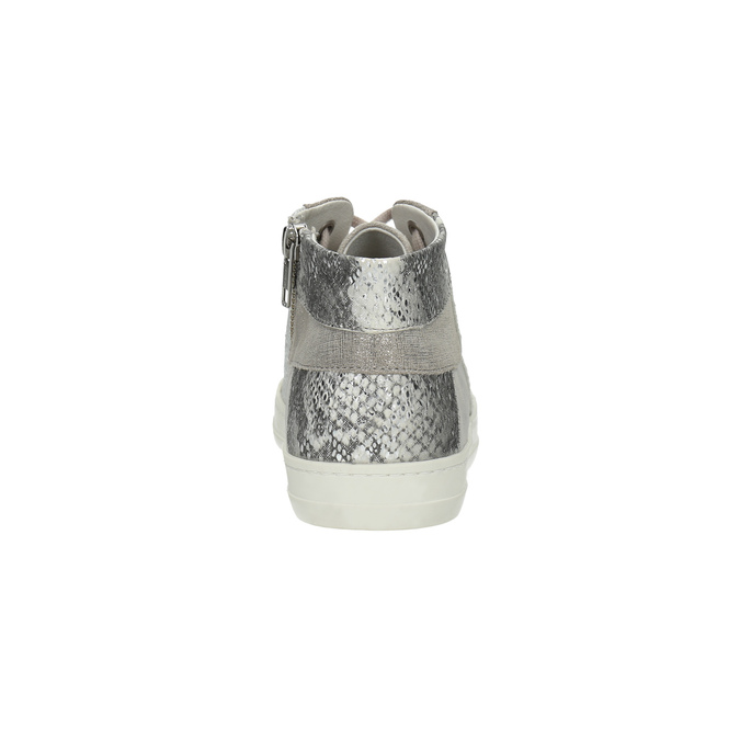 Knöchelhohe Leder-Sneakers mit Muster bata, Grau, 526-2614 - 17