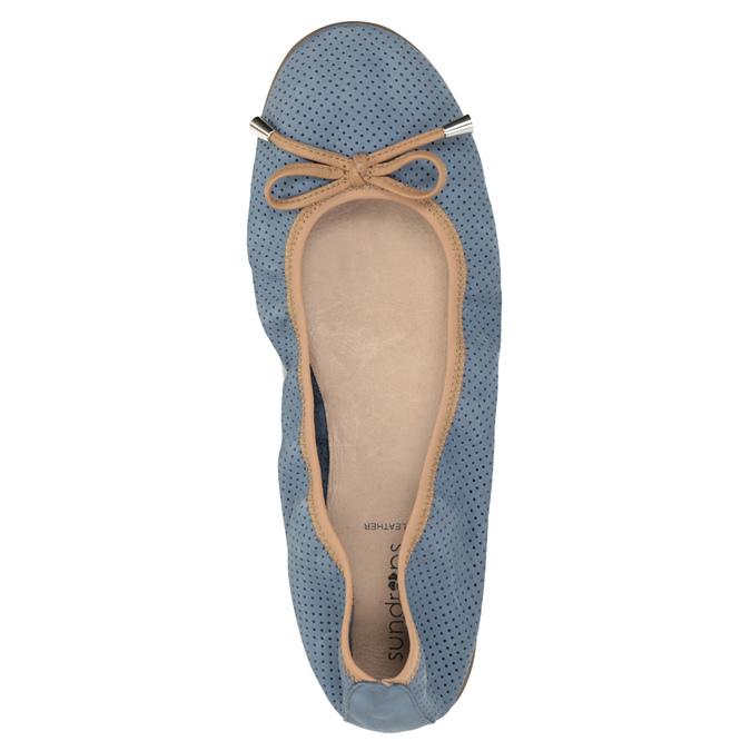 Blaue Leder-Ballerinas mit elastischem Rand bata, Blau, 526-9617 - 19