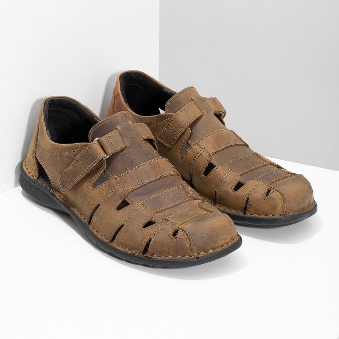 Braune Herrensandalen aus Leder bata, Braun, 864-4600 - 26