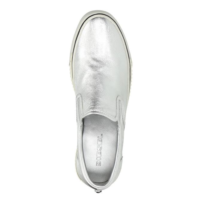 Silberne Slip-Ons aus Leder diesel, Silber , 504-1437 - 19