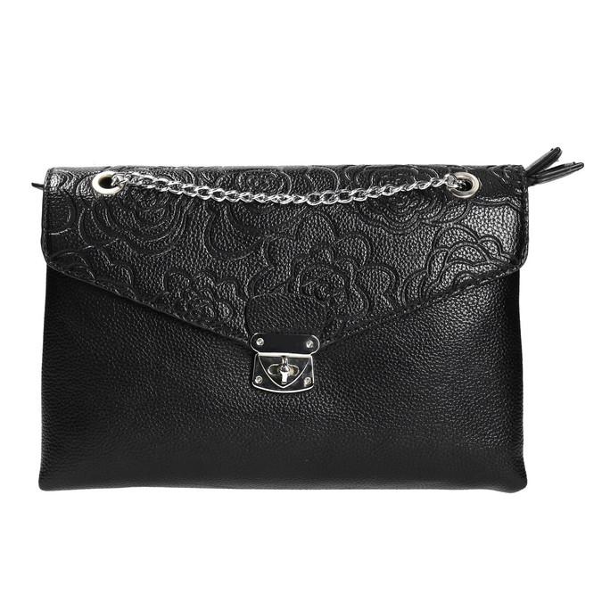 Kleinere schwarze Handtasche mit Klappe bata, Schwarz, 961-6731 - 26