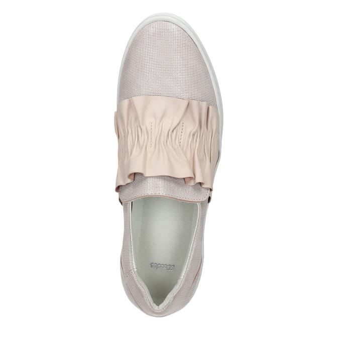 Damen-Slip-Ons aus Leder bata, Rosa, 516-5614 - 26