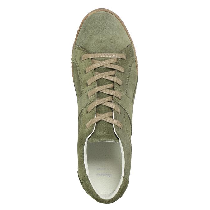 Khaki Damen-Sneakers aus Leder bata, Grűn, 523-7604 - 26