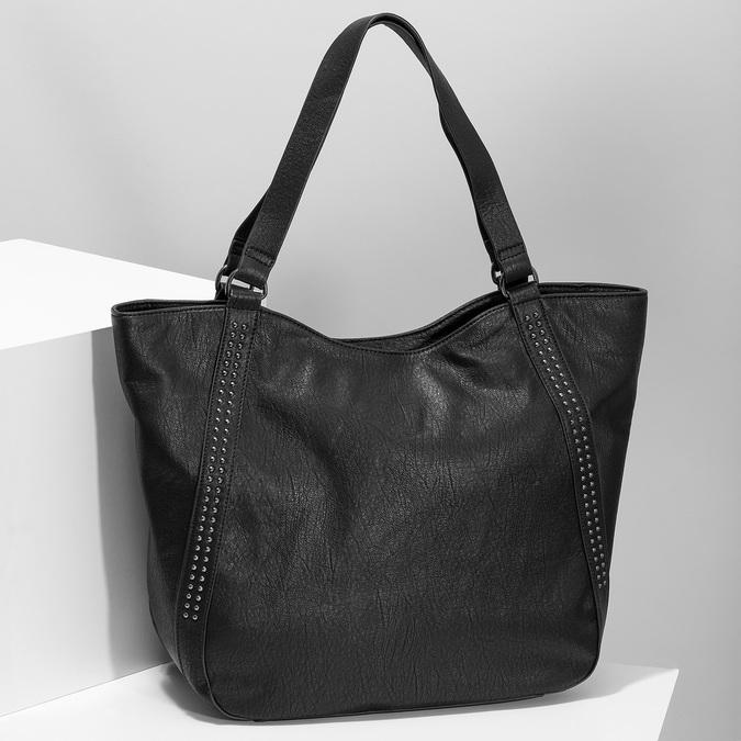Schwarze Handtasche mit Zwecken, Schwarz, 961-6787 - 17
