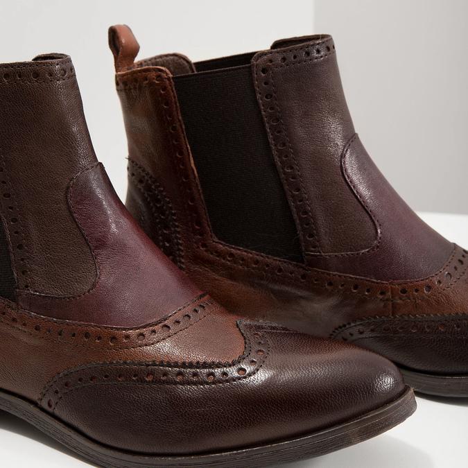 Damen-Chelsea-Boots mit Brogue-Verzierung bata, Braun, 596-4683 - 14