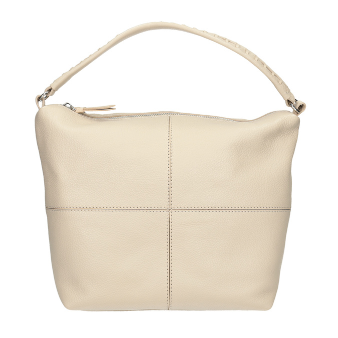 Cremefarbene Hobo-Handtasche aus Leder, Beige, 964-8290 - 26
