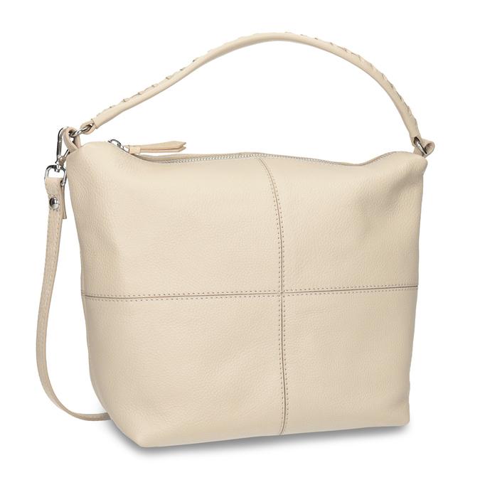 Cremefarbene Hobo-Handtasche aus Leder bata, Beige, 964-8290 - 13