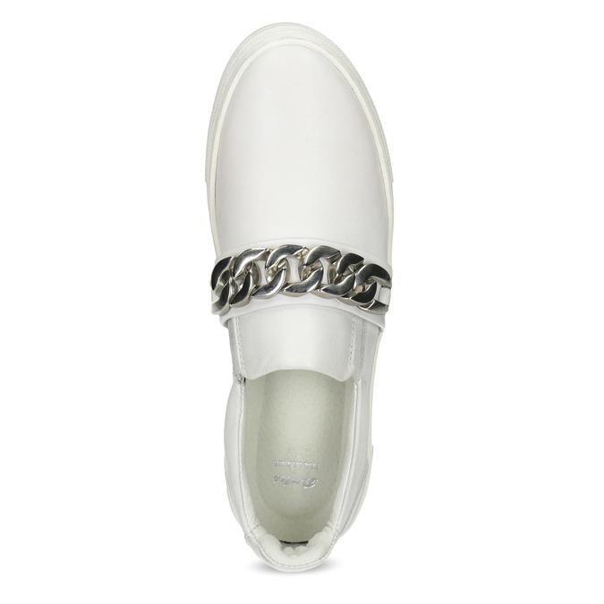Damen-Slip-Ons aus Leder mit Kettchen bata, Weiss, 514-1601 - 17