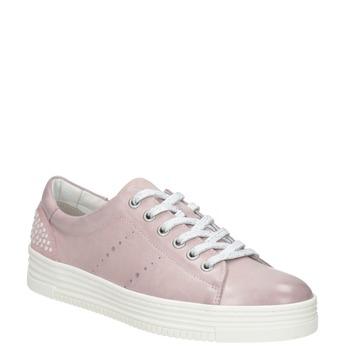 Rosa Leder-Sneakers mit kleinen Perlen bata, Rosa, 546-5606 - 13