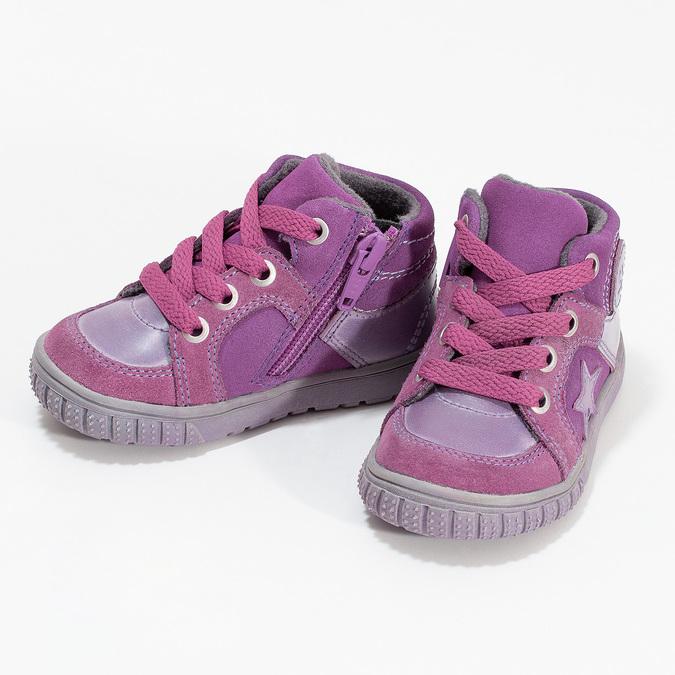 Mädchen-Sneakers aus Leder bubblegummer, Rosa, 123-5601 - 16