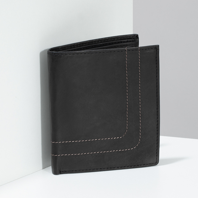 Leder-Geldbörse mit Steppnaht bata, Braun, 944-6148 - 17